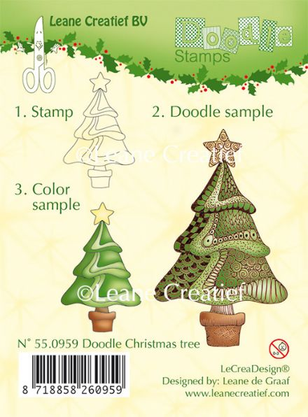 55.0959 ~ DOODLE CHRISTMAS TREE  ~ Leane Creatief Clear Stamp